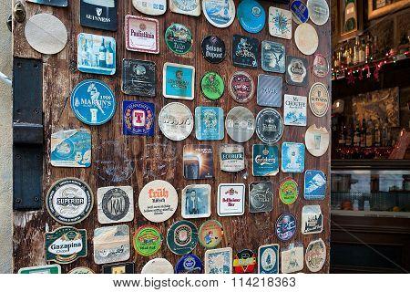 Various Vintage Table Coasters Inside Pub Arezzo