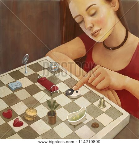 Feng shui illustration of a young woman arranging furniture and household objects on a chessboard