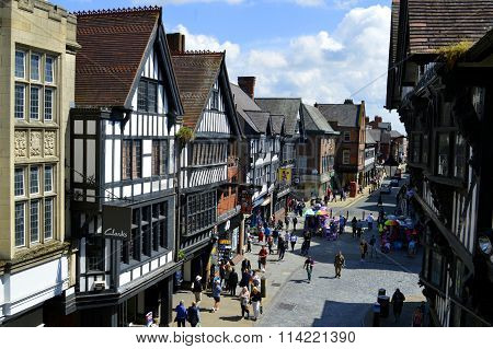 Tourists on Foregate street in Chester City centre