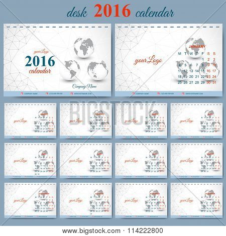 Vector template desk calendar 2016 years . Week starts monday. Graphic background molecule and commu