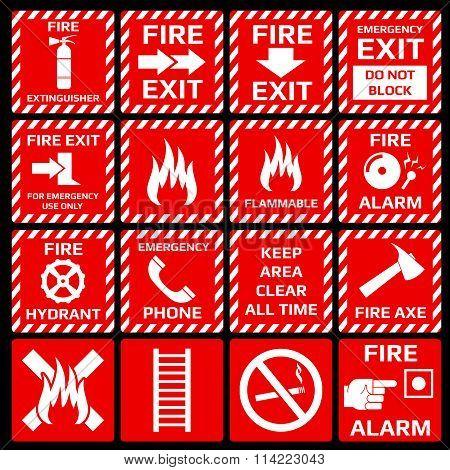 Fire alarm vector symbols set