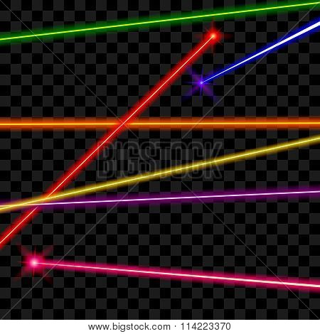 Vector laser beams on transparent plaid background