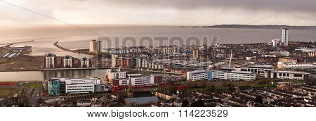 Daybreak over Swansea city
