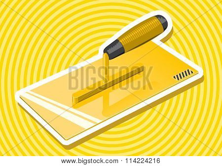 Nice yellow golden pointed stucco trowel with white outline