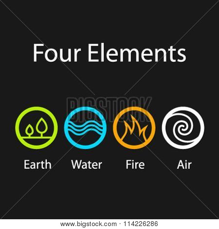 vector four natural elements symbols