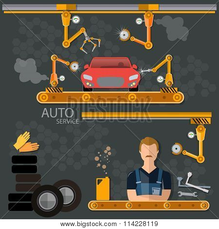 Conveyor Banners Auto Factory Assembly Of Motor Vehicles
