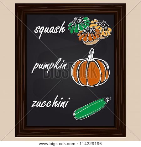 Drawn  Squash, Pumpkin And Zuccini