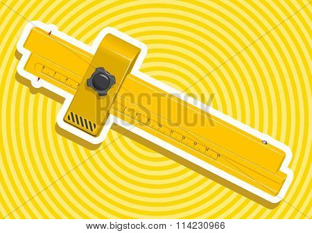 Yellow golden ruler with outline border nice calliper construction tools