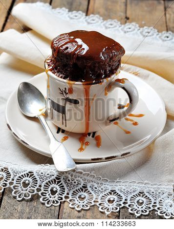 Delicious Mug Cake, Chocolate cake cooked in a cup in the microwave poster