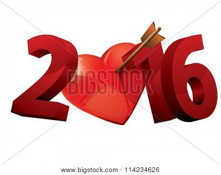 2016 Year of love. 2016 heart love typography.