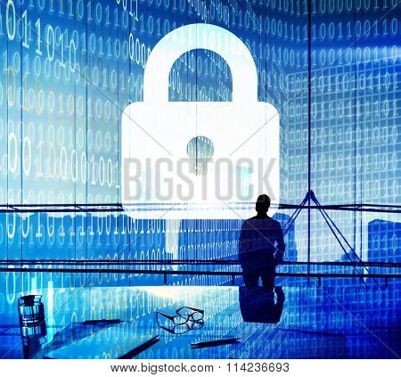 Business People Binary Code Lock Security Cocnept