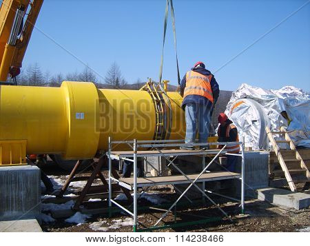 Sakhalin Russia - 12 November 2014: Construction of the gas pipeline on the ground. Transportation of energy carriers.