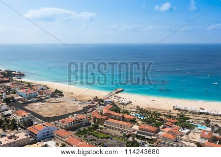 Aerial view of Santa Maria beach in Sal Island Cape Verde - Cabo Verde poster