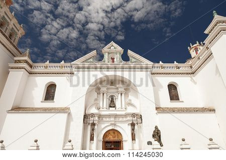 Detail of the facade of the Basilica of Our Lady of Copacabana in the small tourist town along the Titicaca Lake in Copacabana Bolivia