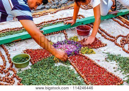 Making A Carpet For Good Friday Procession, Antigua, Guatemala