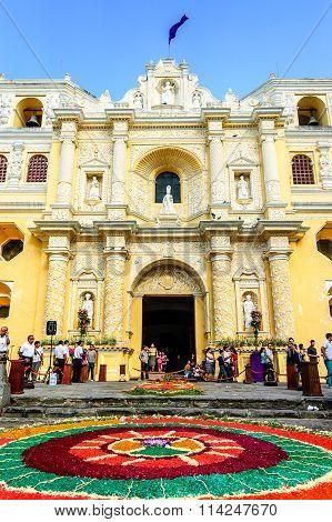 Lent Processional Carpet Outside La Merced Church, Antigua, Guatemala