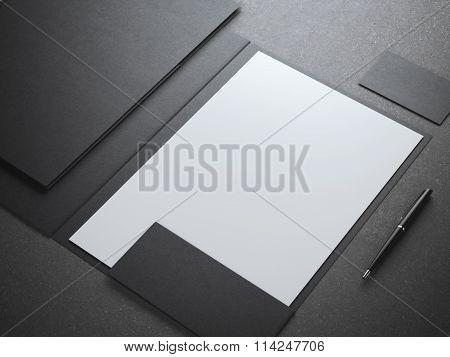 Blank white shhet in black folder