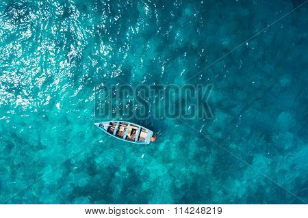 Aerial  View Traditional Fisher Boat In Santa Maria  In Sal Island In Cape Verde - Cabo Verde
