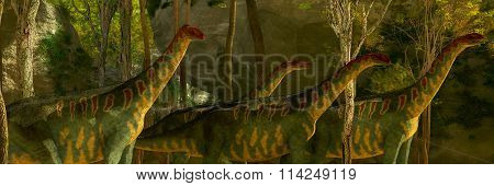 Jobaria Dinosaurs In Forest