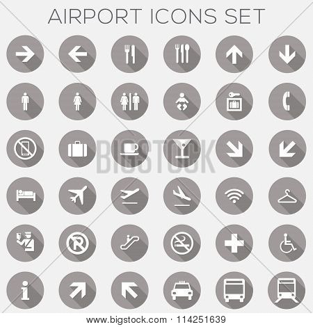 Airport Signage Icons Set - vector eps10 poster