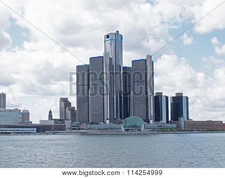 Renaissance Center From Detroit River