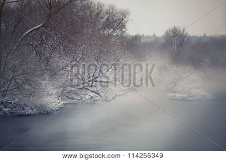 Misty Winter River. Winter Fog Ober The River.