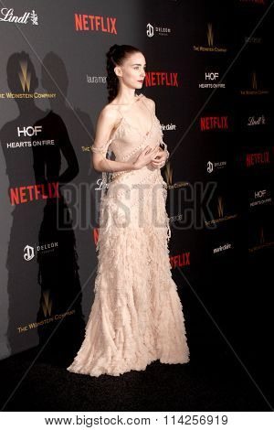 BEVERLY HILLS, CA - JAN. 10: Rooney Mara arrives at the Weinstein Company and Netflix 2016 Golden Globes After Party on Sunday, January 10, 2016 at the Beverly Hilton Hotel in Beverly Hills, CA.