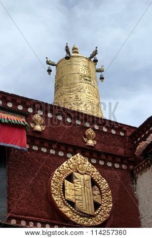 Temple bell at Jokhang temple Tibet People's Republic of China