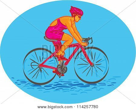 Drawing sketch style illustration of a female cyclist riding bike racing bicycle cycling biking viewed from side set inside oval shape on isolated background. poster