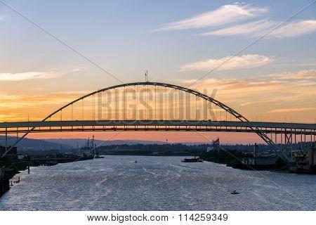 Fremont Bridge At Sunset