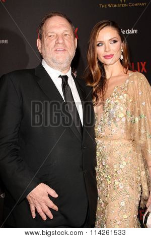BEVERLY HILLS, CA - JAN. 10: Harvey Weinstein & Georgina Chapman arrive at the Weinstein Company/Netflix 2016 Golden Globes After Party, Jan. 10, 2016 at the Beverly Hilton Hotel, Beverly Hills, CA.