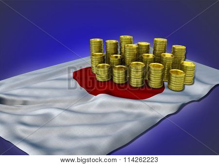 Japanese economy concept with national flag and golden coins