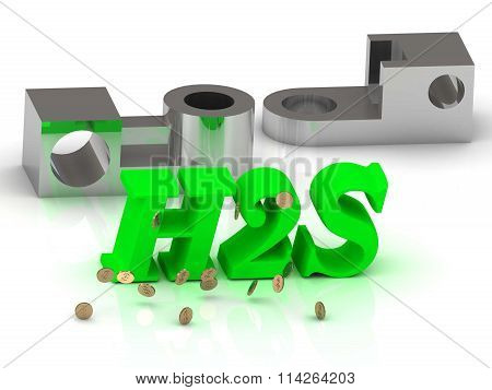 H2S - words of color letters and silver details on white background
