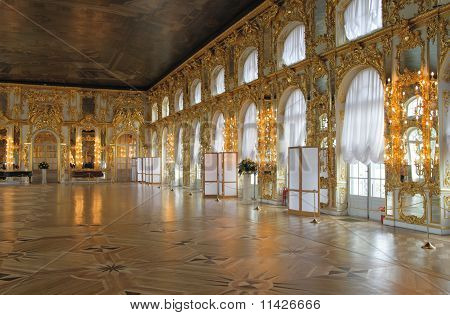 Catherine's Palace Hall, Tsarskoe Selo (pushkin), Russia.