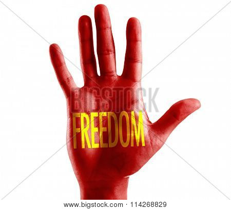Freedom written on hand isolated on white background