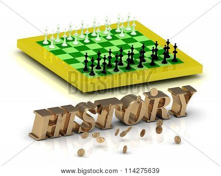 History- Bright Gold Letters Money And Yellow Chess