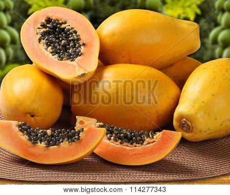 Fresh Cut Juicy Tropical Papaya Mamao Fruit With Seeds At Brazilian