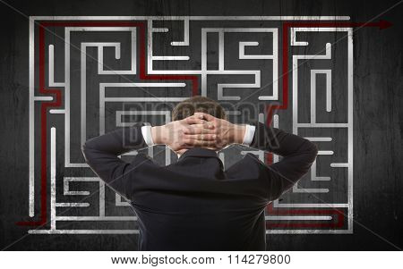 Business concept. Back view of businessman looking at a maze on wall