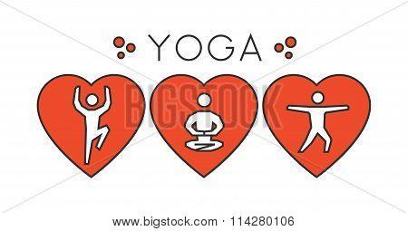 Vector Line Yoga Logo. I Love Yoga. Silhouette Figures Yogi.