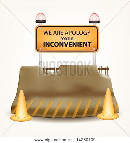 Inconvenient Sign And Concrete Roadblock Vector Design