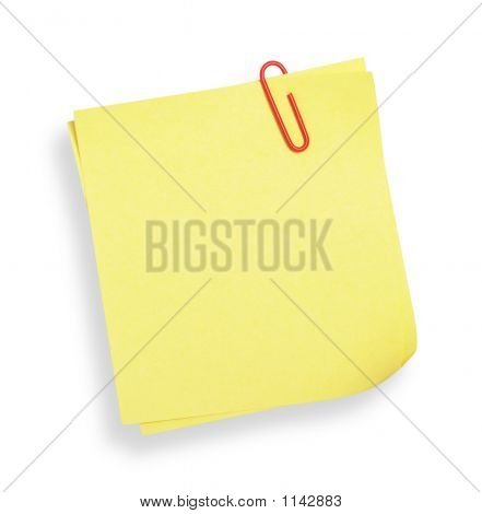 Yellow Adhesive Note(With Clipping Path)