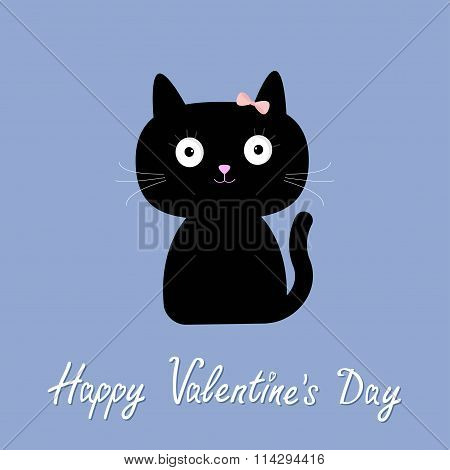 Cute cartoon cat girl with bow. Flat design style. Happy Valentines day card. Rose quartz serenity color background. Vector illustration poster