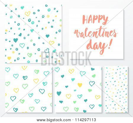 Valentines day herts patterns set with lettering design elements