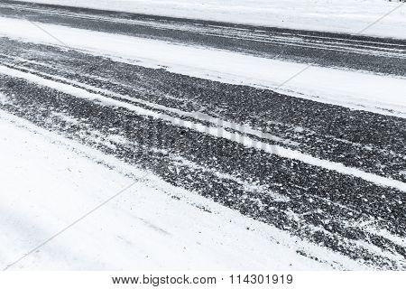 Winter Road, Asphalt Under Fresh Snow Layer