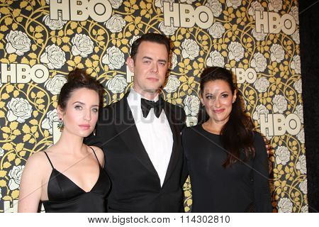 LOS ANGELES - JAN 10:  Zoe Lister-Jones, Colin Hanks, Angelique Cabral at the HBO Golden Globes After Party 2016 at the Beverly Hilton on January 10, 2016 in Beverly Hills, CA