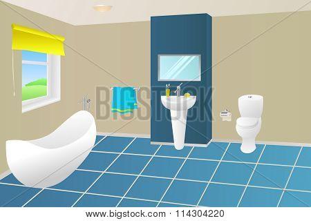 Modern bathroom beige blue yellow bath towel sink toilet window illustration vector