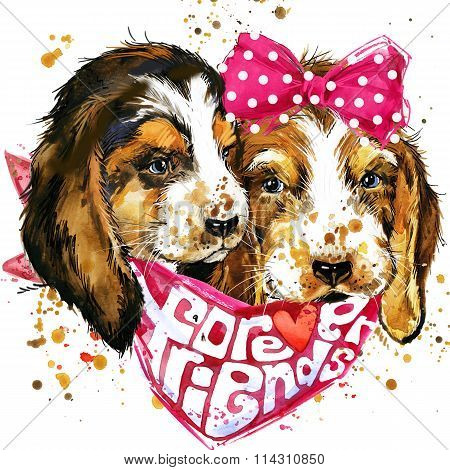 dog companion T-shirt graphics. watercolor dog illustration. Forever friends handwritten text. unusu