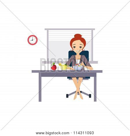 Eating at Work. Daily Routine Activities of Women. Vector Illustration