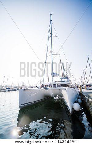 Catamaran in Marina on Beautiful Sunny Day
