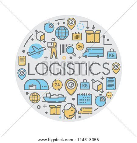 Line vector logistics icons.